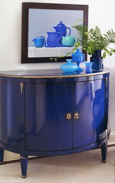 STUNNING BLUE CABINET!! Just FYI, it's 11 THOUSAND FUCKING $$$ !! But it could be easy to do if you find the right piece and paint it a high gloss. http://www.invitinghome.com/furniture-hand-painted/cabinets.htm