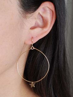 Star Circle Hoop Earrings Gold or Silver by JENNYandJUDE on Etsy, $25.00