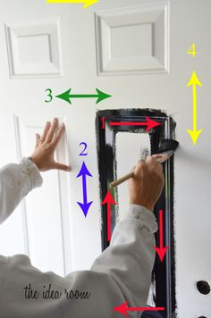 How to paint a door from The Idea Room. I would love to paint our front door! It's looking a bit weathered after 12 years!