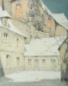 La maison sous l'église, hiver / HENRI LE SIDANER (French, 1862–1939)