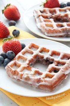 Deep fried berry waffles coated in a sweet lemon glaze. Recipe from @Rachel {Baked by Rachel}