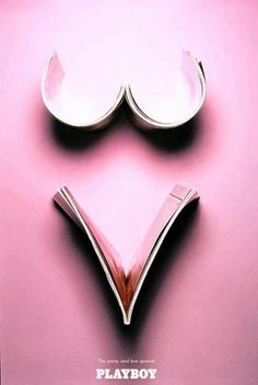 Funny print for Playboy using magazines to shape a woman body