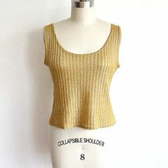 Vintage Gold Metallic Knit Cropped Tank Top // Low Scoop Neck Tank from vauxvintage on Etsy. Saved to Vaux Vintage. Cropped Tank Top, Metallic Gold, Scoop Neck, Knitting, Tank Tops, Vintage, Women, Fashion, Moda