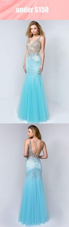 07ada601bbf Mermaid V-Neck Sleeveless Tulle Low-V Back Dress With Beading And Pleats