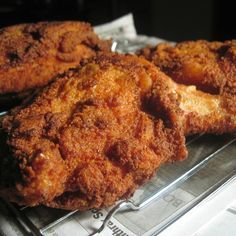 Southern Fried Chicken Breast Fingers - tender, juicy meat (on the bone for maximum flavour) encased in a . Fried Chicken Recipes, Meat Recipes, Turkey Recipes, Cooking Recipes, Fried Chicken Legs, Game Recipes, Deep Fried Chicken Breast Recipe, Recipies, Roasted Chicken