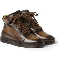 Berluti Playtime Leather High Top - Where To Buy - undefined Best Sneakers, Casual Sneakers, Leather Sneakers, Sneakers Fashion, Casual Shoes, High Top Sneakers, European Fashion Men, Mens Fashion, Berluti Shoes