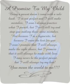 Items similar to Custom Personalized Plush Fleece Blanket - A Promise to My Child - Boy - Available two sizes - and - Other Themes Available on Etsy My Children Quotes, Quotes For Kids, Family Quotes, Life Quotes, Qoutes, Child Quotes, Exist Quotes, Mommy Quotes, Success Quotes