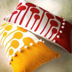 Linen Cushion Cover Design 'Mushrooms' by BillieTheKidDesign