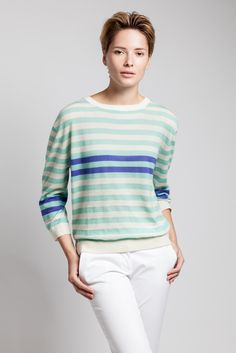 Showing true Asneh stripes. Cashmere and silk sweater.