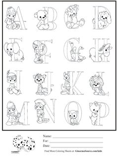 Kids Coloring Page Precious Moments Alphabet Part 1 Sheet