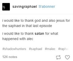 Saphael was totally awesome... and Alec nearly put me in depression