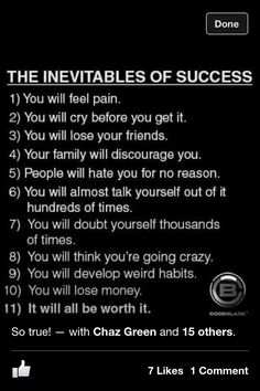 Success doesn't come easy!