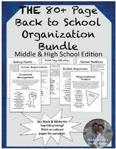 NEW!  In this 80+ Page Bundle, you will find a multitude of resources to start off the school year effectively, working toward teacher and student success throughout the year.  A MUST for New Teachers!From templates to guides to detailed directions, these handouts and other materials will help you set up your classroom for that first day of school, maintain a positive classroom environment, and persevere through the year with tools for student academic success and behavioral management.