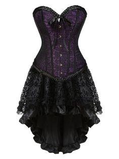 0ef5d23cc Plus Size Flounce Two Piece Corset Dress - Purple -