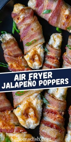 Air Fryer Cheesy Jalapeño Poppers are stuffed with cheddar cheese and cream cheese and wrapped in crispy bacon. This quick and easy recipe makes for the perfect appetizer or protein-filled snack.