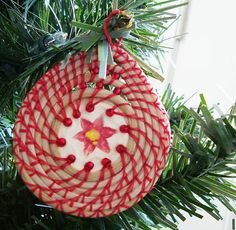 Coiled Horsehair, Christmas Ornament, Red Poinsettia, Basketry on Etsy, $45.00