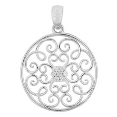 Roma Designs Sterling Silver Round Scroll Pendant with CZs