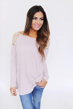 Waffle Knit Crochet Shoulder Long Sleeve- Dusty Purple - Dottie Couture Boutique