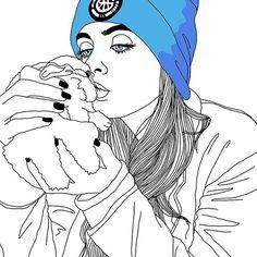 outlines, outline, tumblr girl, draw, illustration, digital art