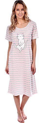 0808d979f2 Patricia Womens Nightgown Short Sleeve Long Sleepshirt Pajama Pink Happy  Cat Stripe Print S  gt