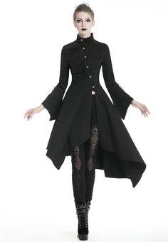 Black Gothic Punk Asymmetrical Long Jacket for Women Lolita Fashion, Gothic Fashion, Steampunk Fashion, Emo Fashion, Long Jackets For Women, Gothic Jackets, Witch Outfit, Space Fashion, Fantasy Dress