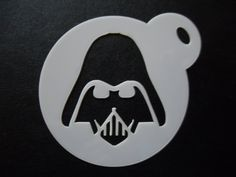 Unique bespoke new laser cut darth head cookie / face painting stencil