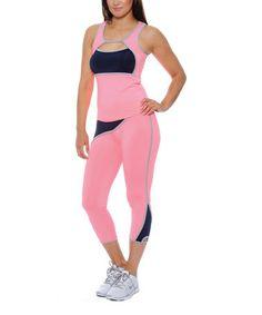 Look at this #zulilyfind! Pink& Navy Racerback Tank & Capri Leggings #zulilyfinds
