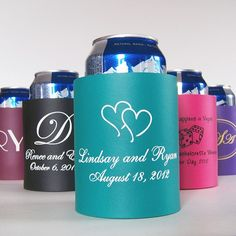 Rigid arctic foam wedding koozies personalized with a design, bride and groom's name and wedding date will keep beer and soda ice cold throughout your wedding reception. A useful wedding souvenir, rigid foam can koozies insulate longer than collapsible foam or neoprene koozies and can be kept on hand at home, in the bar, garage, or shop for keeping drinks ice cold longer. These koozie favors can be ordered at http://myweddingreceptionideas.com/personalized_foam_can_koozies.asp