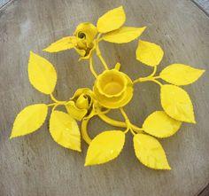 Yellow Rose Candle Holder by ElizabethLaneBoutiqu on Etsy, $17.50