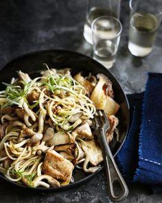 Wafu spaghetti chicken and mushroom.