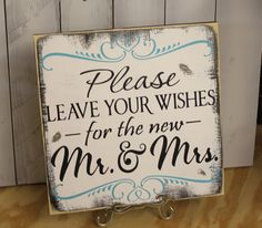 Guest Book/Please Leave Your Wishes For the New MR and MRS/Wedding Sign/Photo Prop/U Pick Color/Great Shower Gift/Vineyard/Rustic. $27.95, via Etsy.