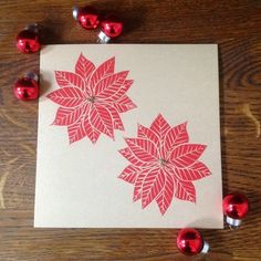 Poinsettia Flower Christmas Card Lino printed by Hand £2.50