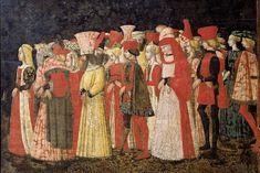 Marco del Buono e Apollonio di Giovanni di Tommaso - Processione dell' Amore - pannello cassone - 1440 - Bergamo Accademia Carrara, Pinacoteca