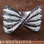 White And Black Cubic Zirconia Authentic Sterling Silver Ring
