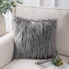Phantoscope Decorative New Luxury Series Merino Style Grey Fur Throw Pillow Case Cushion Cover 18 x 18 x Fur Throw Pillows, Throw Pillow Cases, Grey Fur Throw, Grey Fashion, Decorative Pillow Covers, Cushions, Luxury, Style, Fluffy Pillows