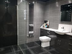 Premier Crafts specialise in design, supply and installation of kitchens, bedrooms and bathrooms in North East England. Visit one of our showrooms in Washington or Cleadon to discuss your dream project. Grey Bathrooms, Luxury Living, 20 Years, Free Design, Showroom, Dreaming Of You, Tile Floor, Black And Grey, Tiles