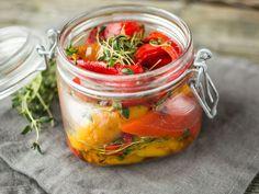 Grillede paprika i olivenolje Tapas, Bruschetta, Pickles, Feta, Cucumber, Mexican, Stuffed Peppers, Vegetables, Cooking