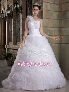 Hand Made Flowers A-line One Shoulder Wedding Dress with Brush Train