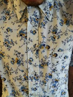 Men's floral button down shirt. Vintage Career Club size medium.. $17.00, via Etsy.