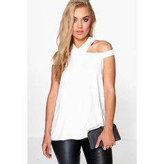 Boohoo Plus Plus Zoe Open Shoulder Halter Neck Woven Top ($26) ❤ liked on Polyvore featuring tops, cream, halter neck crop top, basic white t shirt, ribbed crop top, white cold shoulder top and white top