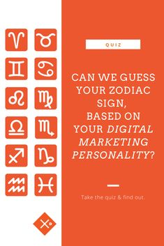 The digital marketing world is full of interesting, quirky, funny, and friendly personalities - is this, because it's written in the stars? Take the quiz and find out! Zodiac Sign Quiz, Zodiac Signs, Online Marketing, Digital Marketing, Personality, Infographic, Writing, Stars, Funny