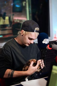 Who the frick gave him a kitten?!?! Too much cuteness!!!!