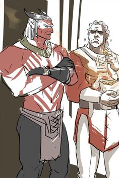 "Sten and the Arishok, ""When Hawke kills you, I'll get that fancy paint job and well, your job."""
