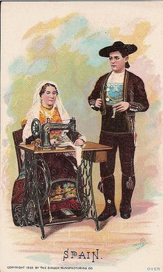 ♥Singer Sewing Machine trade card c. 1892 by bjebie,