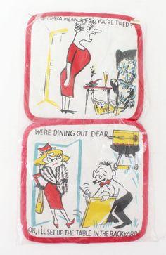 Vtg Potholder Set of 2 New Old Stock Humorous Cartoon Red Yellow Black