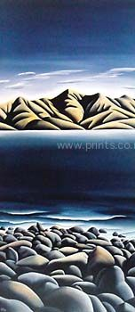 Diana Adams Boulder Bay Canvas Print for Sale - New Zealand Art Prints Large Art Prints, Canvas Prints, New Zealand Landscape, New Zealand Art, Nz Art, Maori Art, Kiwiana, Bouldering, Landscape Paintings