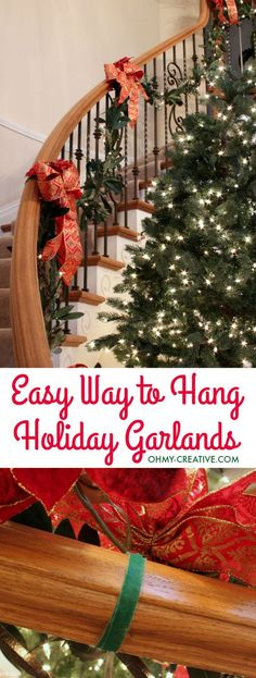 Cascading garland is a gorgeous way to decorate the staircase, but can seem to be a challenge to attach. With this quick tip, it can be so EASY to Hang Garland on Staircase Banisters | OHMY-CREATIVE.COM | #christmas #christmasgarland #christmasdecor