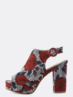 Online shopping for Peep Toe Floral Chunky Heels RED from a great selection of women's fashion clothing & more at MakeMeChic.COM.