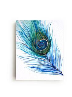 Peacock Feather tela grande parete arte Bright Home di MaiAutumn