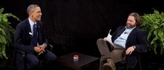 Between Two Ferns With Zach Galifianakis from Barack Obama's Coolest Pop Culture Moments  Obama of course took a lot of heat from his critics for showing up on a spoof online talk show in 2014 to plug the Affordable Care Act, but all of his fans loved what was his savviest pop culture appearance yet.